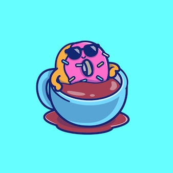 Cute donut relaxing on coffee vector icon illustration. food and drink icon concept isolated premium vector. flat cartoon style