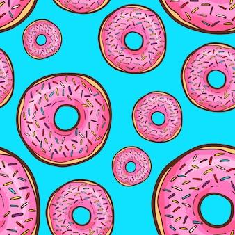 Cute donut seamless pattern