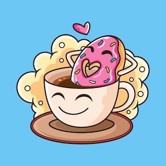 Милый пончик плавать на кофе мультфильм. иконка иллюстрация. изолированные на синем фоне