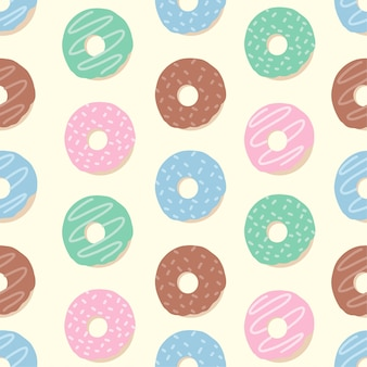 Cute donut tropical summer seamless pattern set