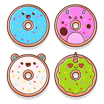 Cute donuts cartoon characters set isolated on a white background