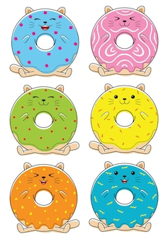Cute donuts character in flat design style