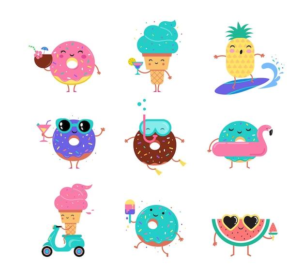 Симпатичные пончики, мороженое и фрукты на летнем наборе