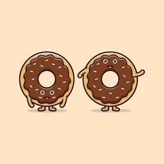 다양한 포즈의 귀여운 도넛. 음식 아이콘 그림