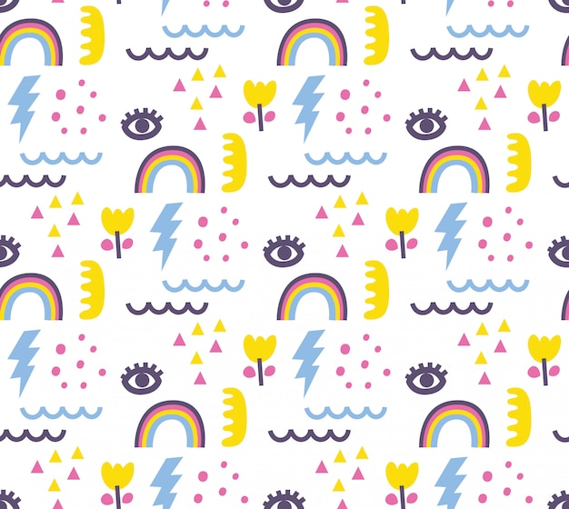 Cute doodle abstract seamless background