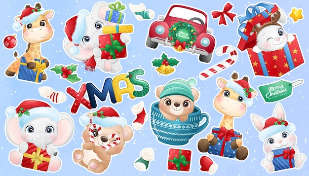 Cute doodle animal for christmas day sticker collection