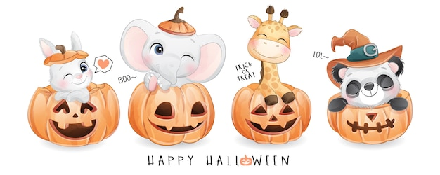 Cute doodle animal for halloween day with watercolor illustration