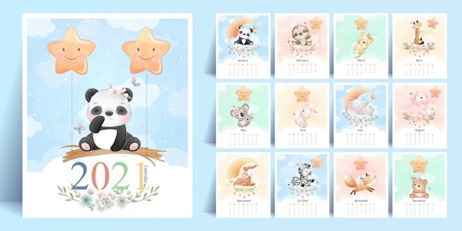 年のコレクションのためのかわいい落書き動物カレンダー