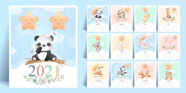 Cute doodle animals calendar for year  collection