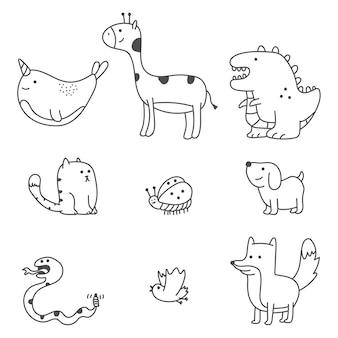 귀여운 낙서 동물 만화 세트 흰색 배경에 고립.
