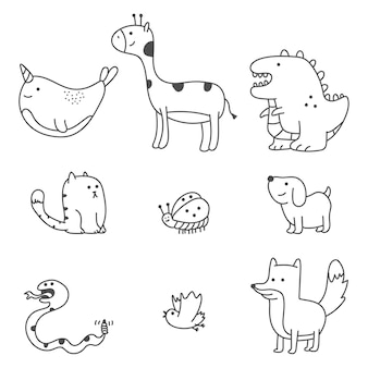 Cute doodle animals cartoon set isolated on a white background.