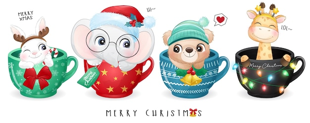 Cute doodle animals for christmas day with watercolor illustration