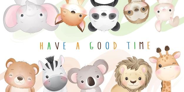 귀여운 낙서 동물 컬렉션