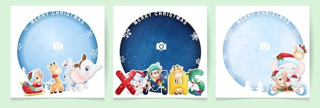 Симпатичные каракули животных на рождество с коллекцией фоторамок