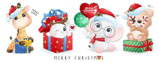 Симпатичные каракули животных на рождество с акварельной иллюстрацией