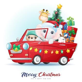 水彩イラストとクリスマスの日のかわいい落書き動物