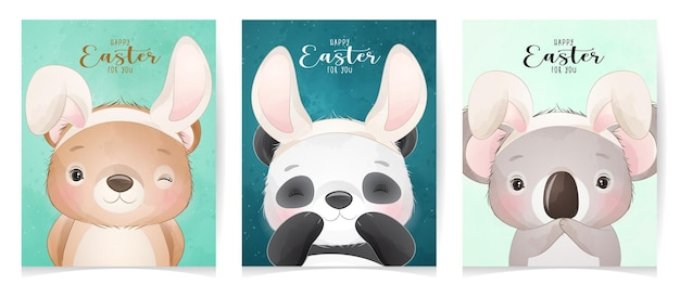 Cute doodle animals for happy easter day
