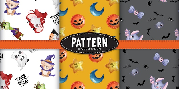 Cute doodle animals pattern for halloween day with watercolor illustration