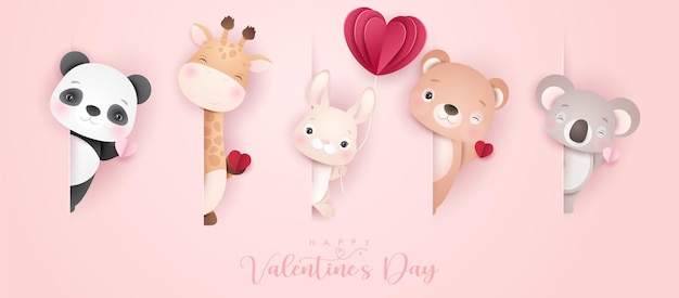 Cute doodle animals for valentine's day in paper style