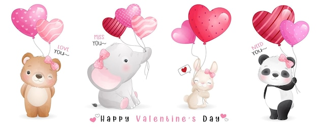 Cute doodle animals for valentines day collection