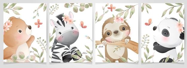꽃 컬렉션 귀여운 낙서 동물