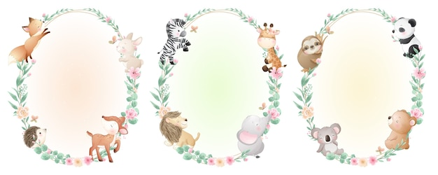 Cute doodle animals with floral collection