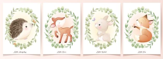 Симпатичные каракули животных с цветочным набором иллюстрации