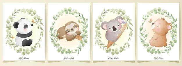 꽃 세트 일러스트와 함께 귀여운 낙서 동물