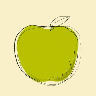 Cute doodle art apple  fruit