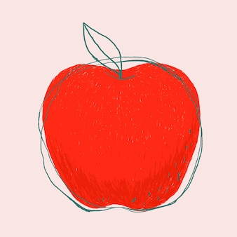 Cute doodle art apple fruit