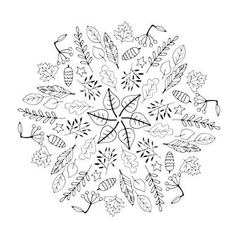 Симпатичные каракули осенняя мандала с листьями, грибами, корзинами, тыквами на белом фоне