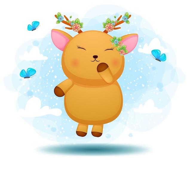 공중에 떠있는 귀여운 낙서 아기 사슴