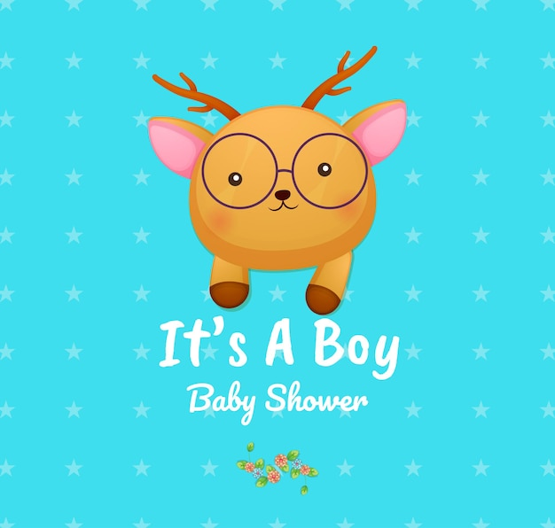 かわいい落書きベビー鹿それは男の子のベビーシャワーカードです