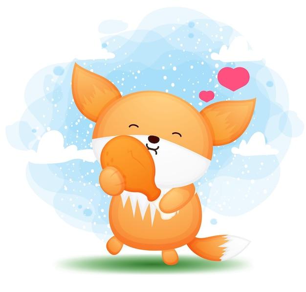 Милый каракули лисенок ест жареную курицу мультипликационный персонаж