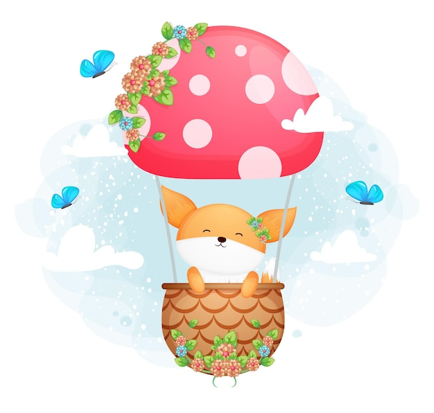 Cute doodle baby fox flying with butterfly in the sky