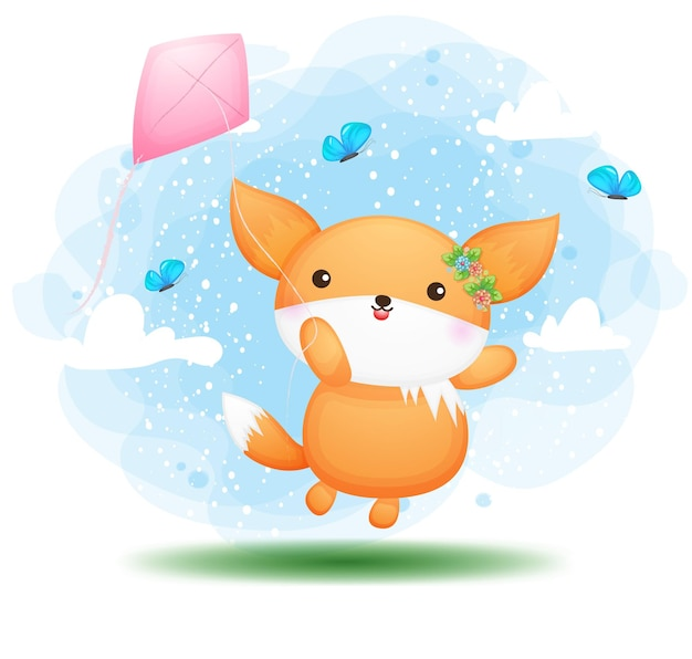 Cute doodle baby fox   flying with kites cartoon character