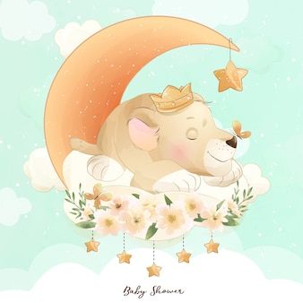 Cute doodle baby lion with watercolor illustration