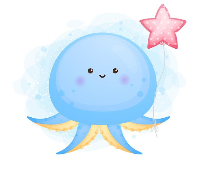 風船の漫画のキャラクターを保持しているかわいい落書き赤ちゃんタコ