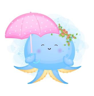 傘の漫画のキャラクターを保持しているかわいい落書き赤ちゃんタコ