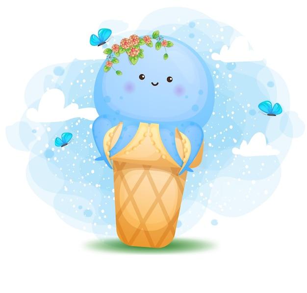 アイスクリームコーンの漫画のキャラクターの中にかわいい落書き赤ちゃんタコ