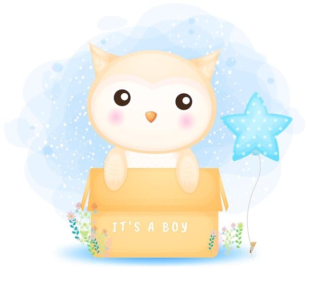 Cute doodle baby owl boy in the box cartoon
