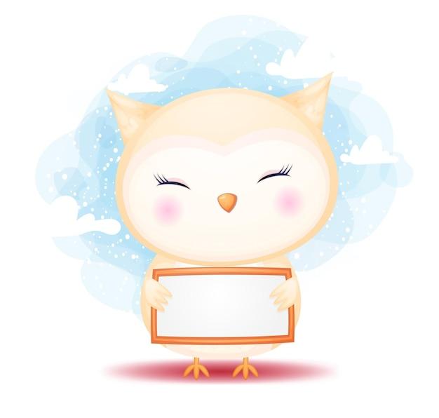 Милый каракули сова ребенок держит вывеску мультфильм