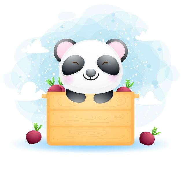 ボックスにかわいい落書き赤ちゃんパンダ