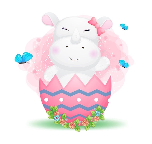 Cute doodle baby rhino girl in the decorative easter egg.