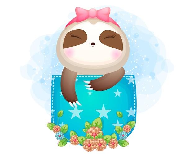 Милый рисунок малыша ленивца внутри кармана
