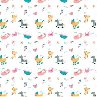 귀여운 낙서 아기 장난감 물건 패턴 원활한