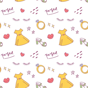 Cute doodle background with dress, shoes and diamond ring