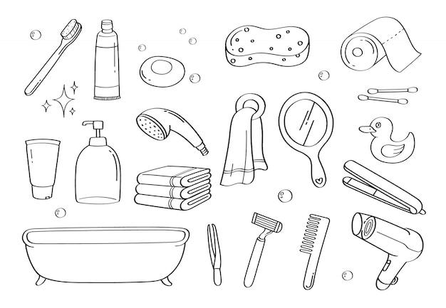 Симпатичные каракули аксессуары для ванной комнаты мультфильм иконки и объекты.
