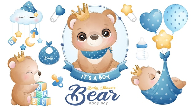 Cute doodle bear baby shower with watercolor illustration set Premium Vector