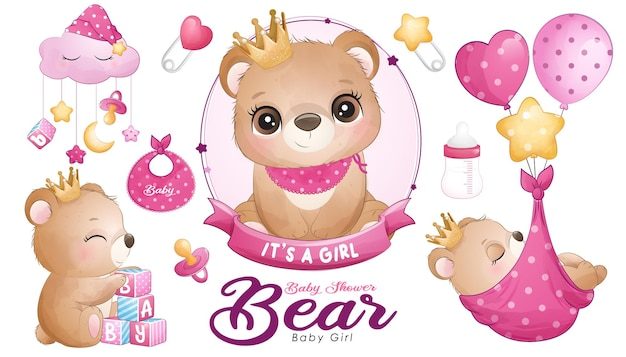 Cute doodle bear baby shower with watercolor illustration set